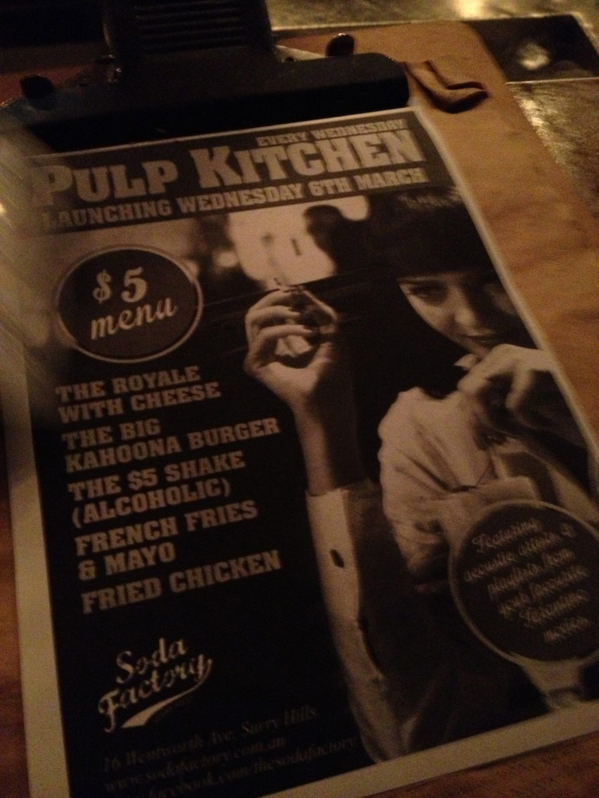 Pulp Kitchen menu